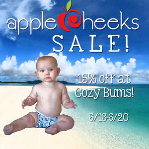 Save 15% on AppleCheeks Diapers at Cozy Bums, now through 8/26!