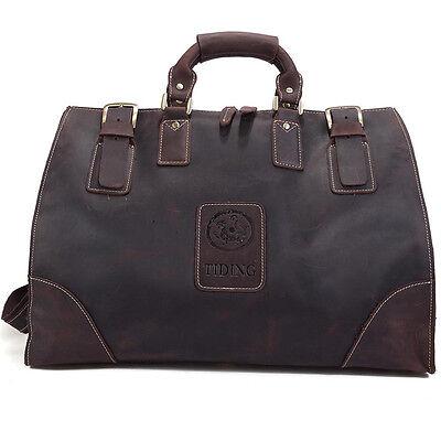 Men's Large Leather Travel Bag Luggage Duffle Gym Messenger
