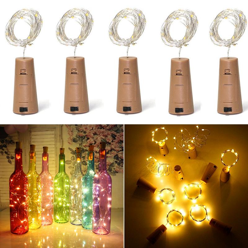 12×20 LED Weinflasche Kork String Light Nacht Lichterkette Party Flaschenlicht
