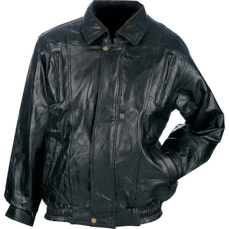 New Mens Black Genuine Leather BOMBER JACKET Flight Coat Motorcycle Biker Riding