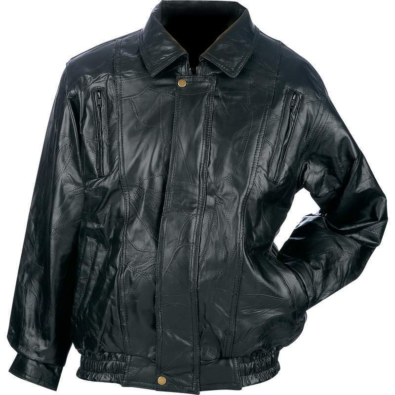 New Mens Black Genuine Leather BOMBER JACKET Flight Coat Motorcycle Biker  Riding фото 28089cb79f4