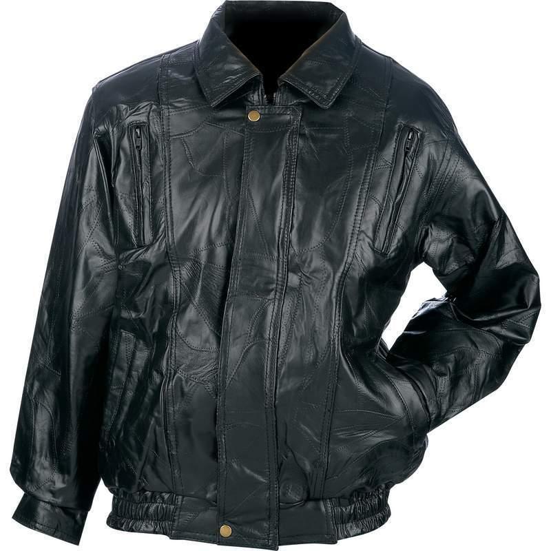 New Mens Black Genuine Leather BOMBER JACKET Flight Coat Mot