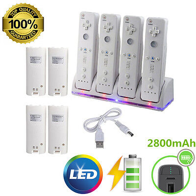 (Charger Charging Dock Station + 4x 2800mAh Battery For wii Remote Controller)