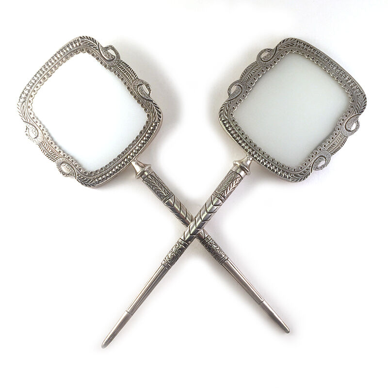 Pair: Antique Southeast Asian 800 Silver & Frosted Glass Face Screen Hand Fans