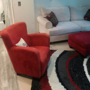 Love seat, ottoman, side chair, chaise lounge & matching rug