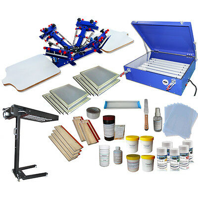 4 Color Silk Screen Printing Press Printer Complete Screen Printing Kit Bundle