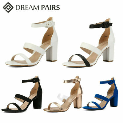 DREAM PAIRS Women's Chunky Heel Sandals Double Strap Pump Dr