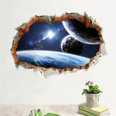 Outer Space Planet Wall Sticker 3D Effect Through Wall Home Decor Galaxy Mural - Outer Space Decor