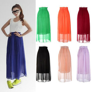 Retro-Long-Skirt-Women-Ladies-Chiffon-Pleated-Maxi-Long-Dress-7-Candy-Colors