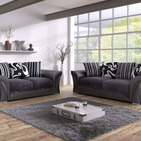 Shanon 3 +2 Black and grey Chenille Sofa