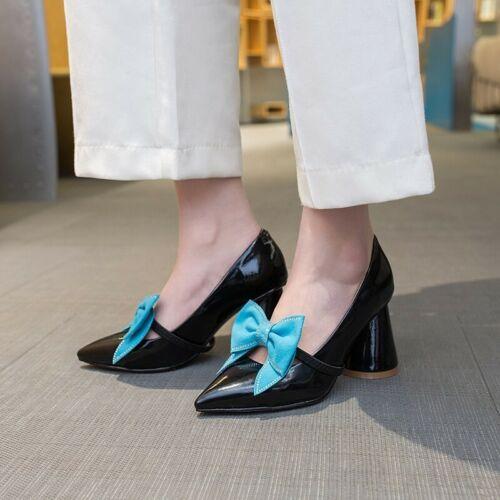 Damen Schuhe Blockabsatz mit Schleife Eckig Niedrig Schnalle Farbwahl Gr.32-43
