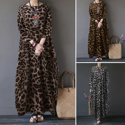 ZANZEA Women Casual Holiday Leopard Print Long Shirt Dress Kaftan Midi Sundress