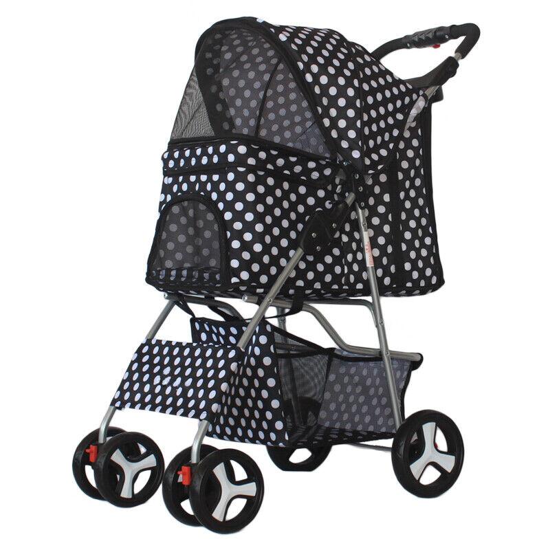 4 Wheels Folding Pet Stroller Cat Dog Cage Stroller Portable Travel Carrier 10KG