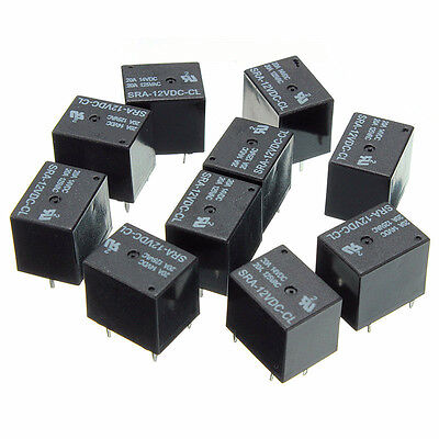 10 pcs Relay 5 Pin DT SRA-12VDC-CL DC 12V Coil 20A Universal PCB New Black CP