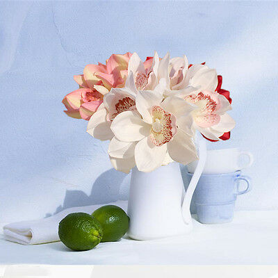- White Real Touch Silk Orchid Artificial Flower Wedding Bridal Bouquet Home Decor
