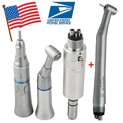 Us Dental High Low Speed Handpiece Kit 4 Hole Air Motor Straight Turbine Fit Nsk