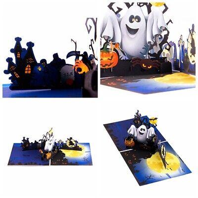 Halloween Pumpkin Ghost 3D Pop Up Greeting Cards Happy Birthday Anniversary Gift
