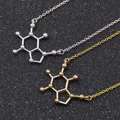Unisex Caffeine Molecule Happiness Signal Penant Necklace Chain Jewellery