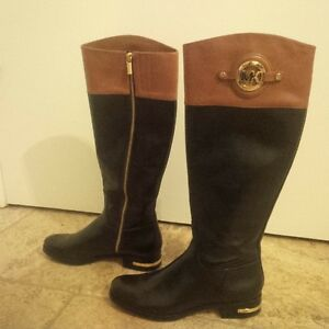 Michael Kors black/brown leather boots size 8.5
