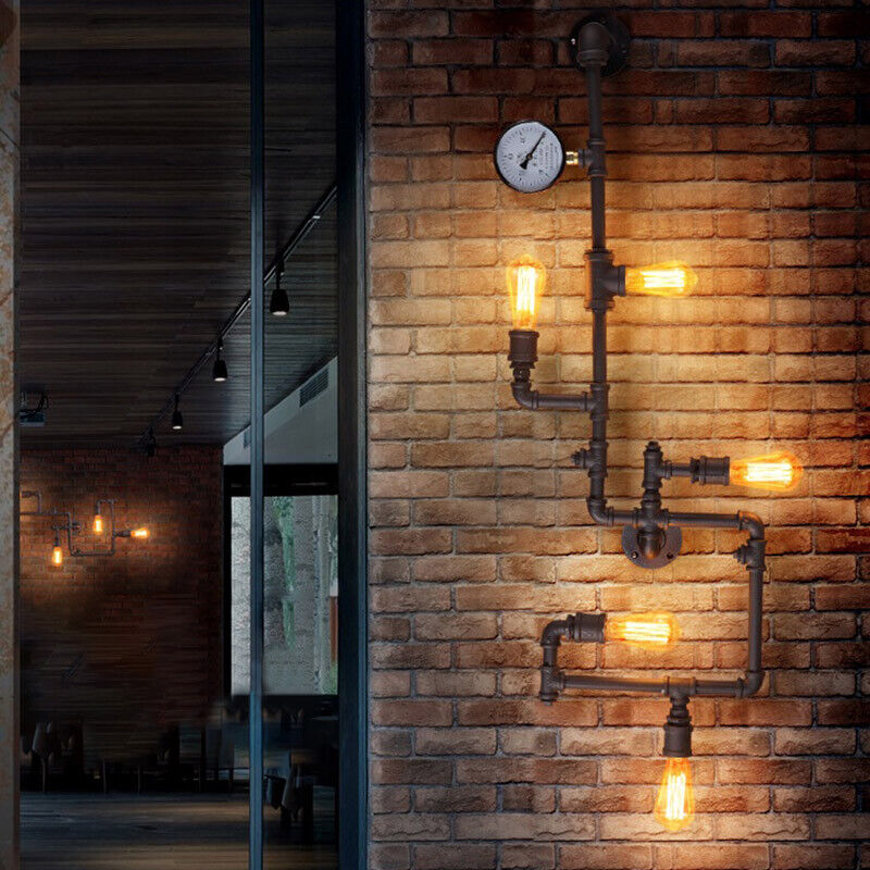 info for 69bab 16b74 Details about Industrial Steampunk Vanity Lighting Vintage Water Pipe Wall  Sconce Fixture