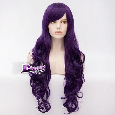 Curly Perücke (80CM Lila Stylish Cosplay Curly Perücke Gelockte wig Lolita Haare Karneval + Cap)