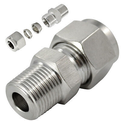 18 Npt X4mm Double Ferrule Tube Fitting Male Connector Npt Stainless Steel 304