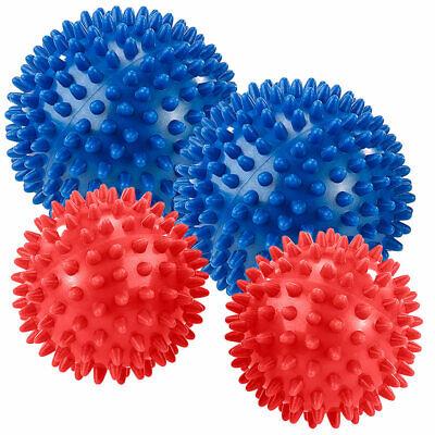 Igelbälle: 2x 2 Massagebälle mit Noppen für Reflexzonenmassage, Ø9 & 7,5cm