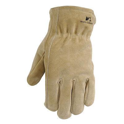 Wells Lamont Brown Mens Medium Suede Cowhide Gloves