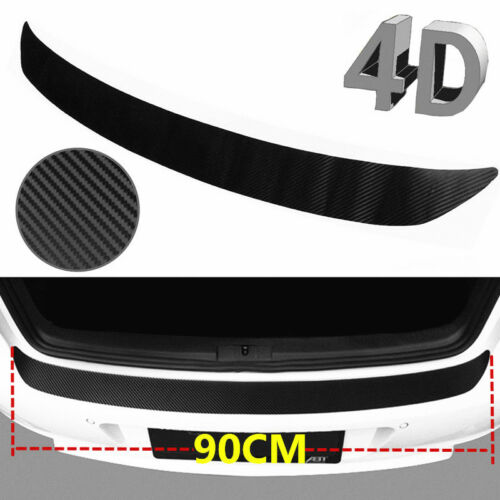 Car Parts - 4D Premium Black Accessorie Carbon Fiber Car Rear Guard Bumper Sticker Protector