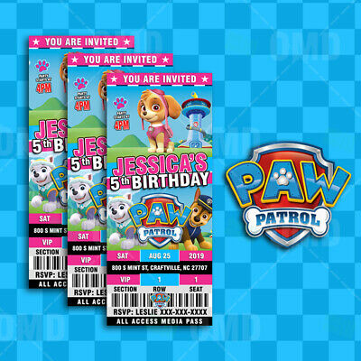 Paw Patrol Ticket Style Birthday Party Invitations - Skye Pink - Paw Patrol Birthday Party Invitations