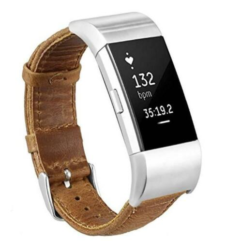 Fitbit charge 2 genuine leren band - lichtbruin