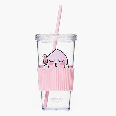 Kakao Friends Official Goods Straw Cold Cup Apeach Tumbler Mug Water Coffee Cup