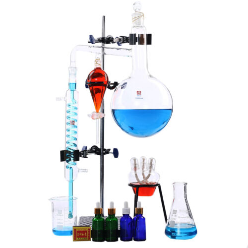 100ml-2000ml Lab Essential Oil Distillation Apparatus Water Purifier Glassware
