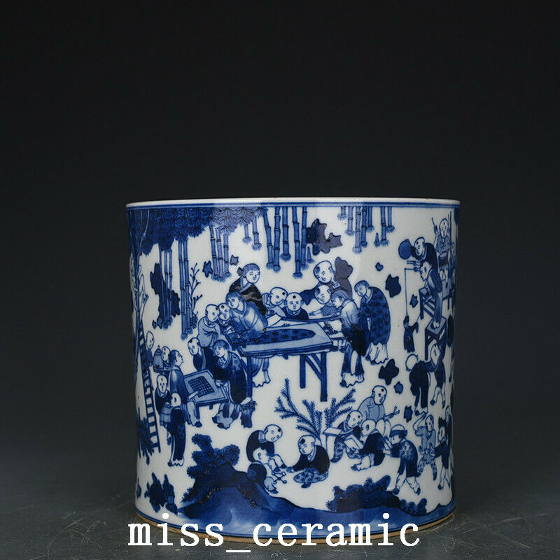 "7.1"" Chinese Porcelain qing dynasty kangxi mark Blue white infant play Brush Pot"