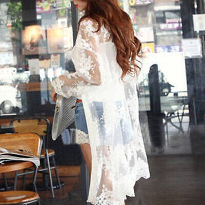Sheer Womens Bikini (Women Sheer Lace Bikini Cover-up Summer Cardigan Swimwear Beach Long Coat Solid)