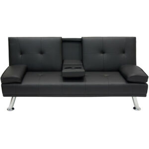 New Deluxe Futon Sofa Bed Couch Cup Holders Sfwf