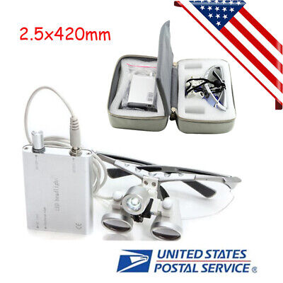 Dental Loupes 2.5x420mm Surgical Binocular Led Head Light Lamp Free Carry Case