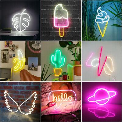 USB Powered LED Neon Sign Light Wall Hanging Bar Lamp Visual Artwork Home Decor