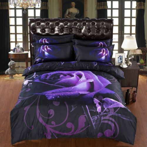 Full Size Duvet Cover Bedding Set In Exotic 3d Black And Pur