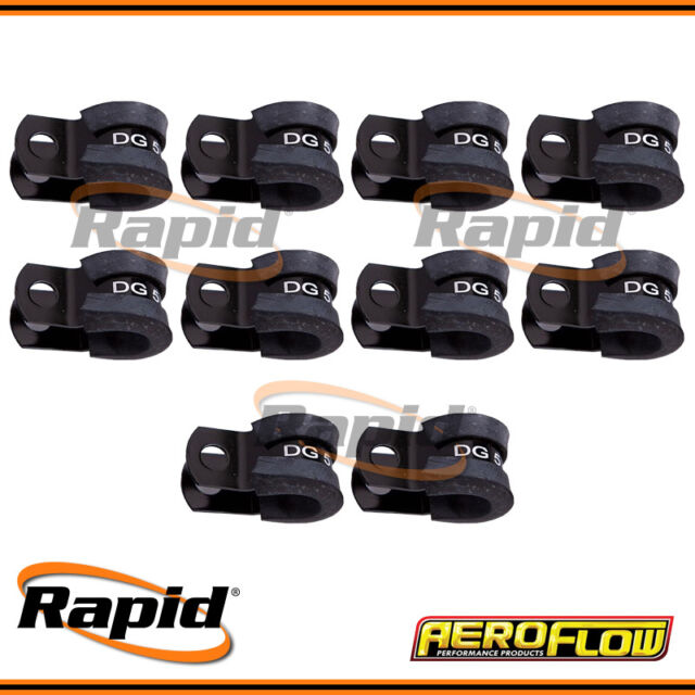 """Aeroflow Black Cushioned P-Clamps 5/16"""" (8.0mm) 10 Pack AF158-05BLK"""
