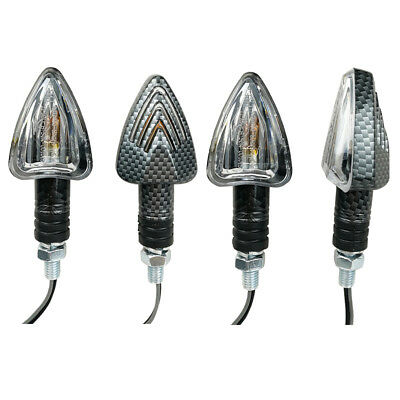 4x E-marked MINI ARROW Motorbike Motorcycle Signal Indicators Light Bulb Carbon
