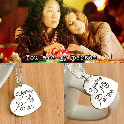 Free Shipping Grey's Anatomy inspired heart Necklace quote : You're My Person