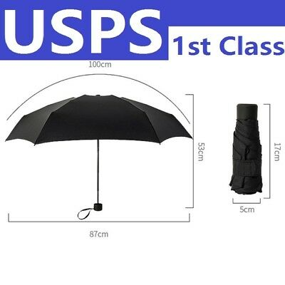 Black Mini Foldable Pocket Umbrella Travel Parasol for Sunny Rainy Day