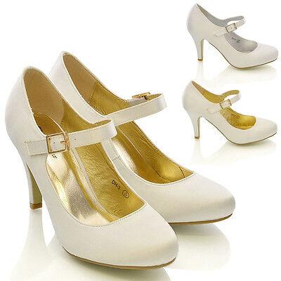 Damen Braut Stiletto Weiß Elfenbein Satin Ferse Hochzeit Brautjungfer Schuhe (Weiß Ferse Schuhe)