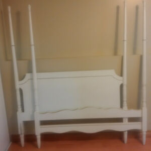 White Provincial 4 post head board and foot board - double bed