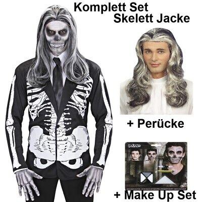 SKELETT JACKE mit Perücke und Make Up Set Herren Kostüm Halloween Knochen Tod ()