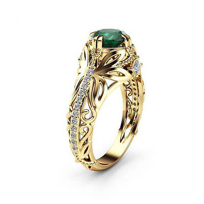 - Charm 18K Yellow Gold Plated Round Cut Emerald Jewelry Wedding Ring Size 6-10