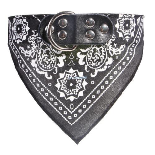 Dog Bandana Collar Triangle Scarf Adjustable Leather Pet Cat Doggie Neckerchief