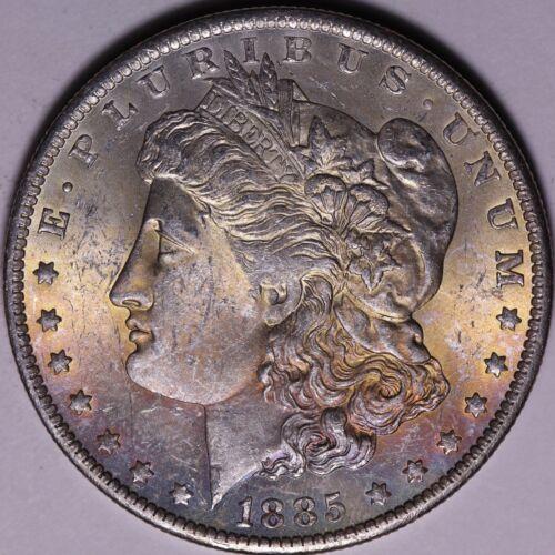 1885 O $1 Morgan Silver Dollar BU Uncirculated Mint State Rainbow Toned Reverse