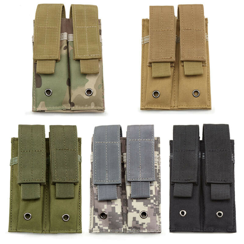 Molle Double Magazine Pouch Elastic Pistol Mag Holder Flashlight Tool Holster Holsters, Belts & Pouches